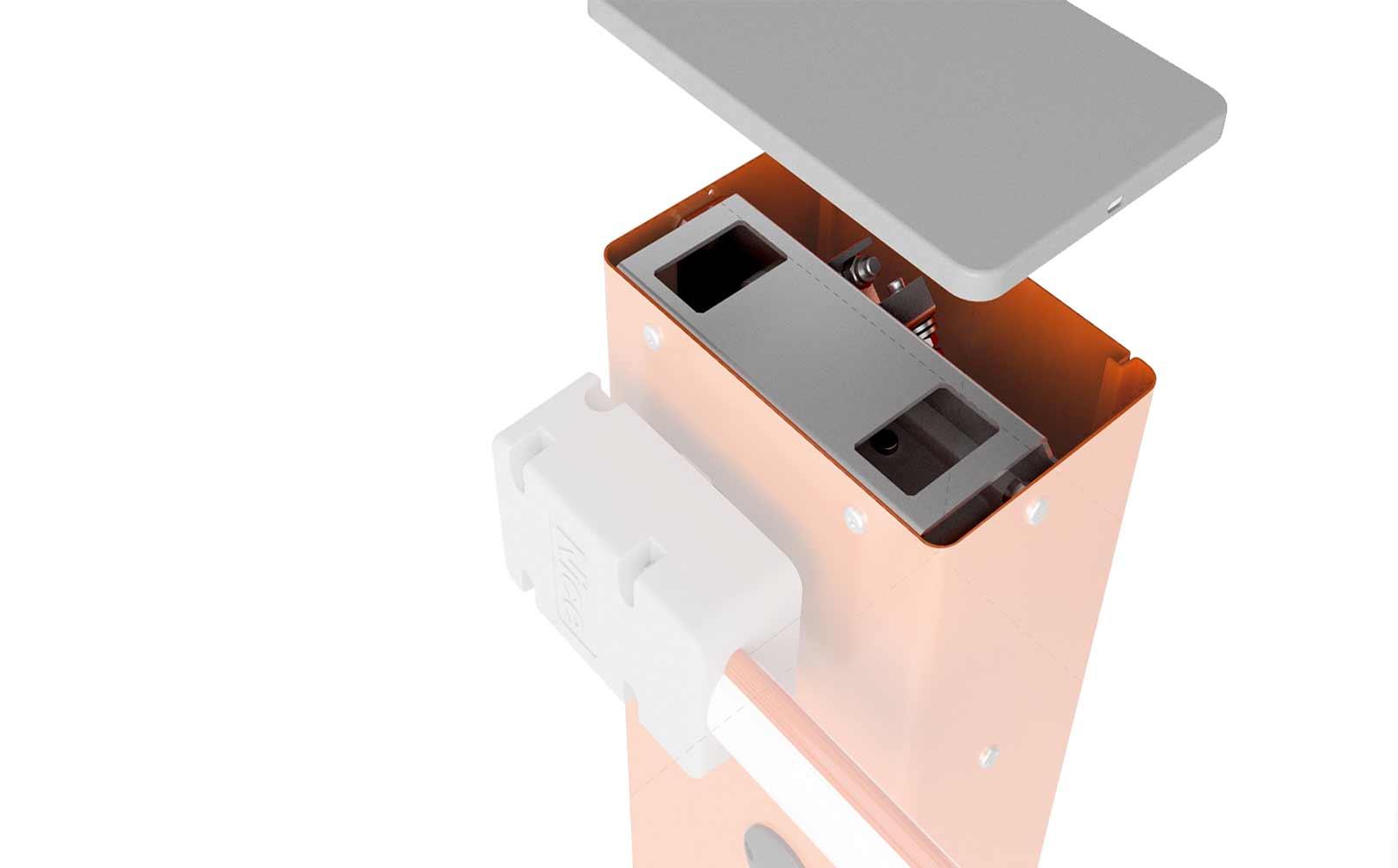 bariera acces auto mecanism interior fara capac